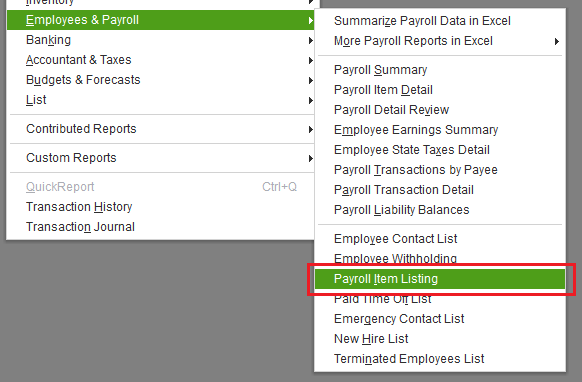 Payroll items